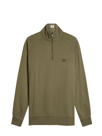 Old Dyed Brushed Fleece Quarter Zip Sweater in Dusty Olive