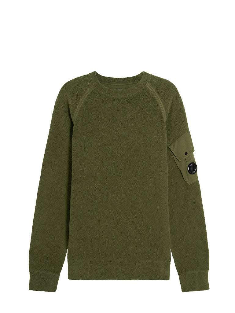 Garment Dyed Polar Fleece Lens Crew Sweat in Ivy Green