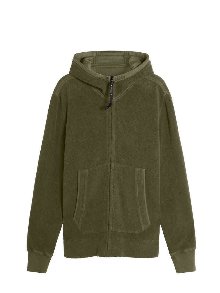 Garment Dyed Polar Fleece Full Zip Goggle Hoodie in Ivy green
