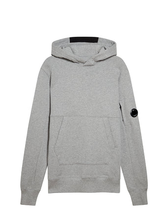 Diagonal Fleece Hooded Lens Sweatshirt in Grey Melange