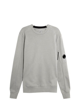 Diagonal Raised Fleece Lens Crew Sweat in Grey Melange