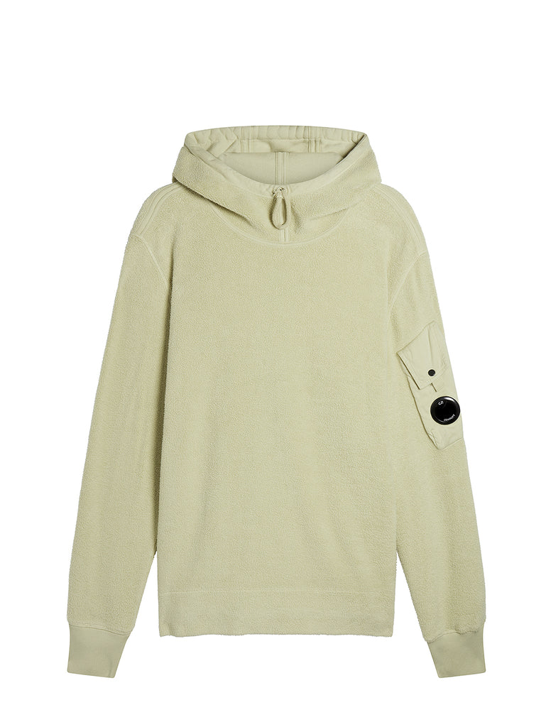 Garment Dyed Polar Fleece High Neck Lens Hoodie in Oyster Grey