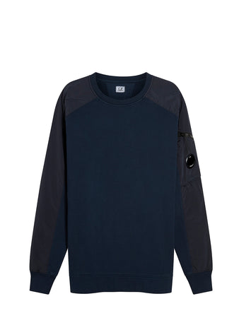 Brushed Fleece Mixed Garment Dyed Lens Sweater in Total Eclipse