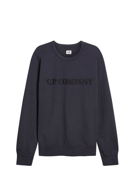 Garment Dyed Light Fleece Chest Embroidered Sweater in Total Eclipse