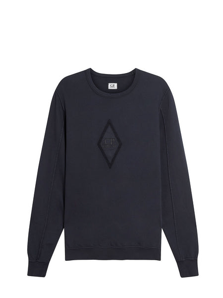 Garment Dyed Light Fleece Diamond Logo Sweater in Total Eclipse