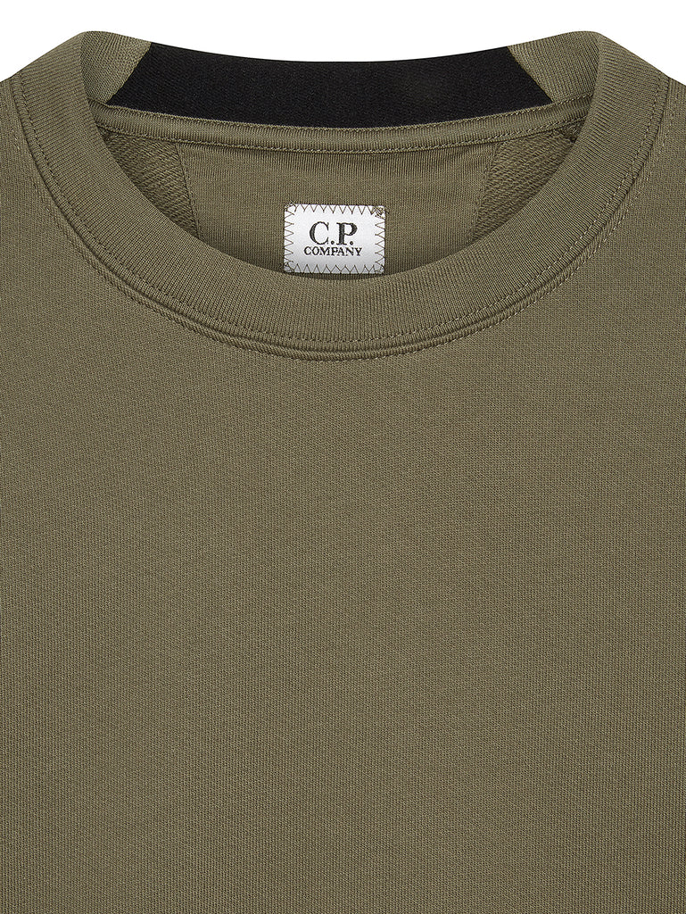 Diagonal Raised Fleece Lens Crew Sweatshirt in Dusty Olive
