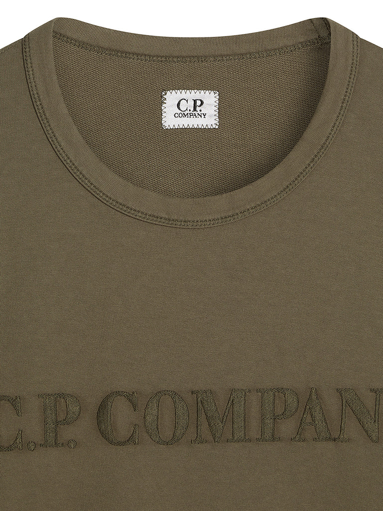 Garment Dyed Light Fleece Chest Embroidered Sweater in Dusty Olive
