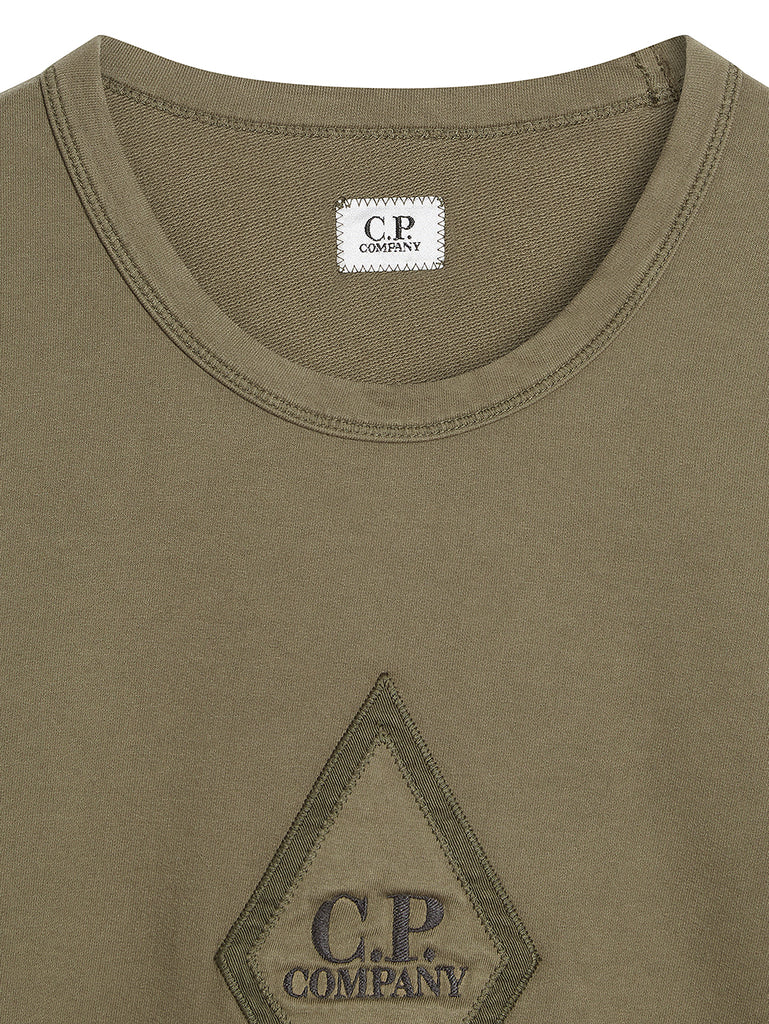 Garment Dyed Light Fleece Diamond Logo Sweater in Dusty Olive