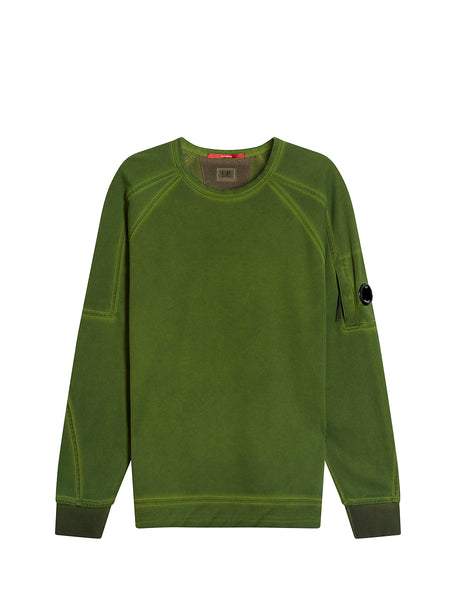 Garment Dyed Light Fleece Lens Crew Sweatshirt in Dusty Olive