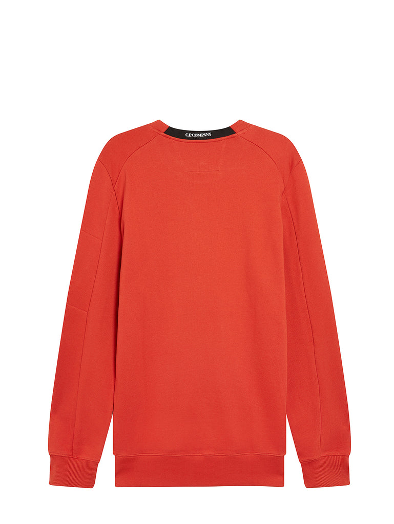 Diagonal Raised Fleece Lens Crew Sweatshirt in Pureed Pumpkin