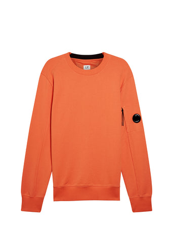 Diagonal Fleece Lens Sweatshirt in Spicy Orange