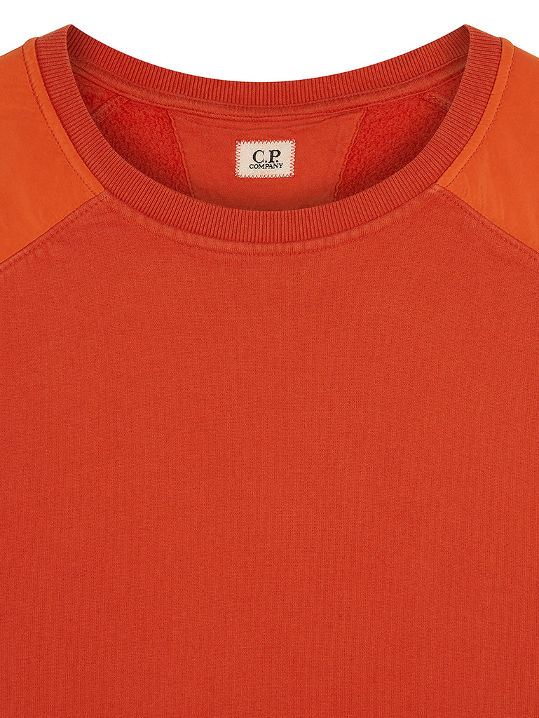 Brushed Fleece Mixed Garment Dyed Lens Sweater in Pureed Pumpkin