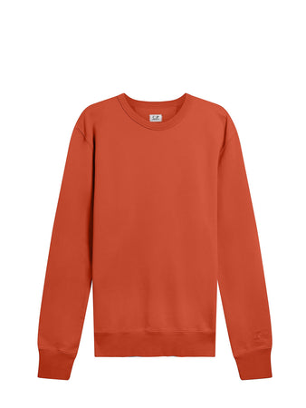 Garment Dyed Brushed Cotton Fleece Sweatshirt in Pompeian Red