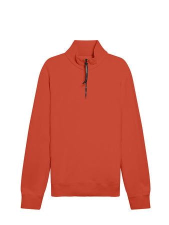 Garment Dyed Brushed Cotton Fleece Quarter Zip Sweatshirt in Pompeian Red