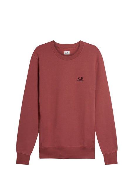 Diagonal Raised Fleece Chest Logo Sweater in Roan Rouge