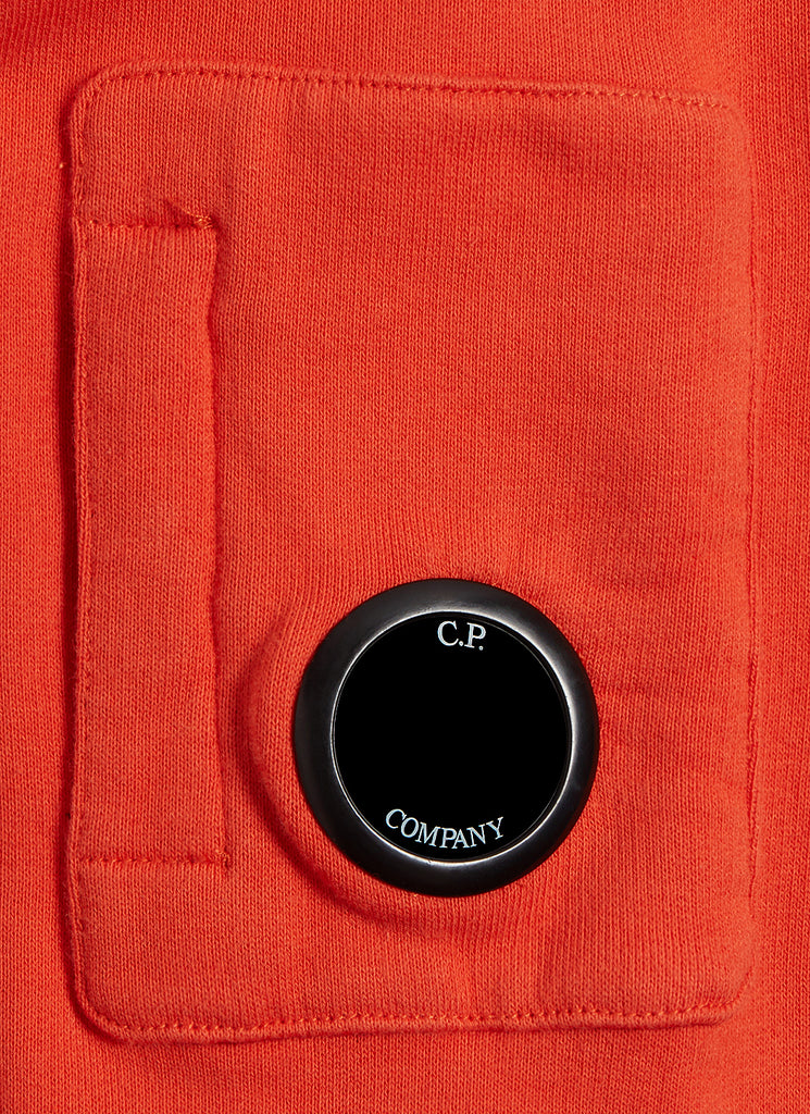 Undersixteen Basic Fleece Logo Print Lens Sweatshirt in Spicy Orange