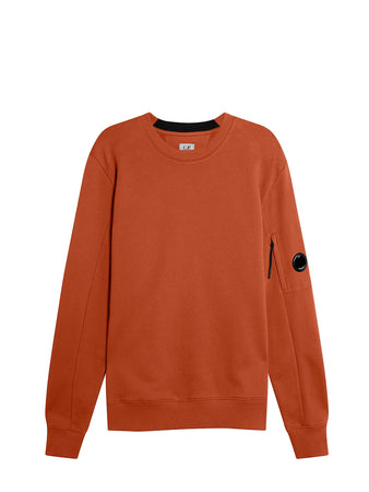 Diagonal Raised Fleece Lens Crew Sweat in Pompeian Red