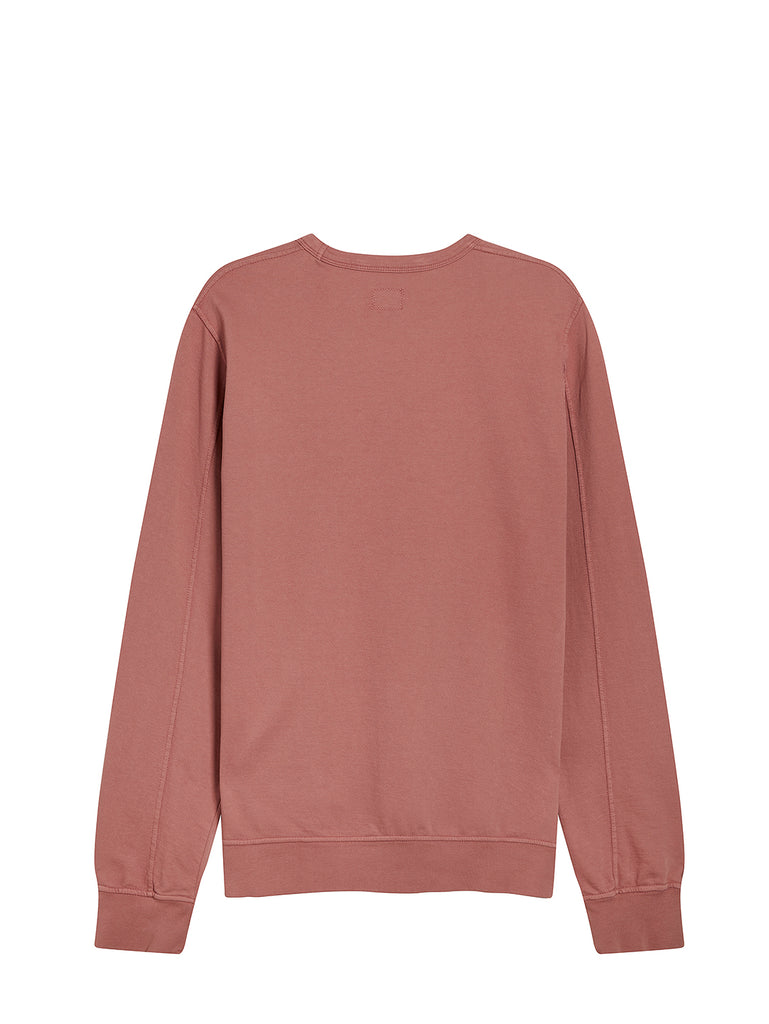Garment Dyed Light Fleece Chest Embroidered Sweater in Roan Rouge