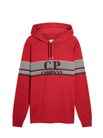 Basic Fleece Bands Print Fleece Hooded Sweat in Scooter