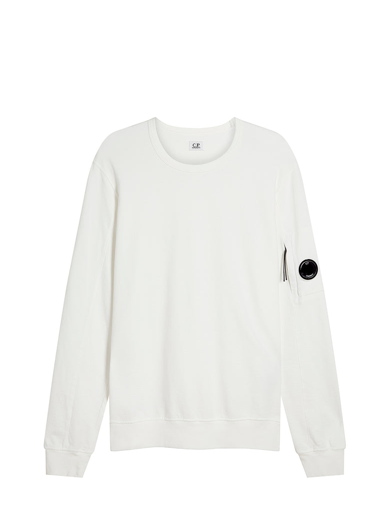Garment Dyed Light Fleece Lens Crew Sweatshirt in Gauze White