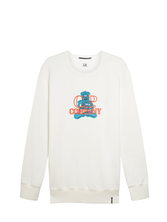 Mako Fleece Comics and Cars Logo Crew Sweat in Gauze White
