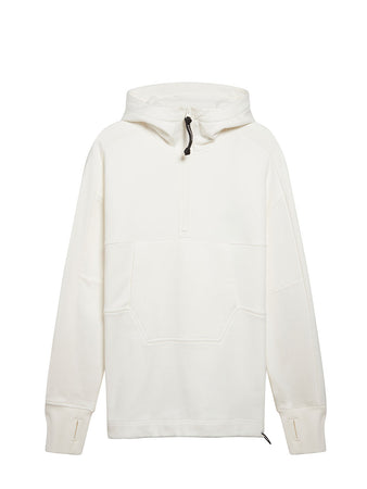 Diagonal Raised Fleece Quarter Zip Goggle Hoodie in Gauze White