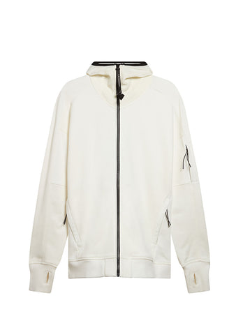 Diagonal Raised Fleece Full Zip Lens Hoodie in Gauze White