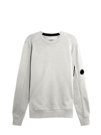 Diagonal Raised Fleece Lens Crew Sweat in Gauze White