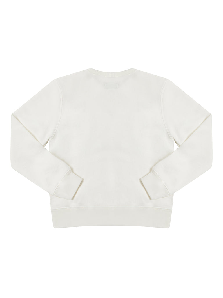 Undersixteen Basic Fleece Bands Print Sweatshirt in Gauze White