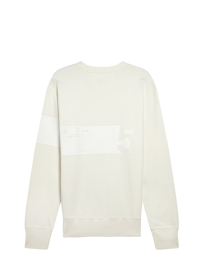 Cotton Fleece 5 Print Sweatshirt in Gauze White