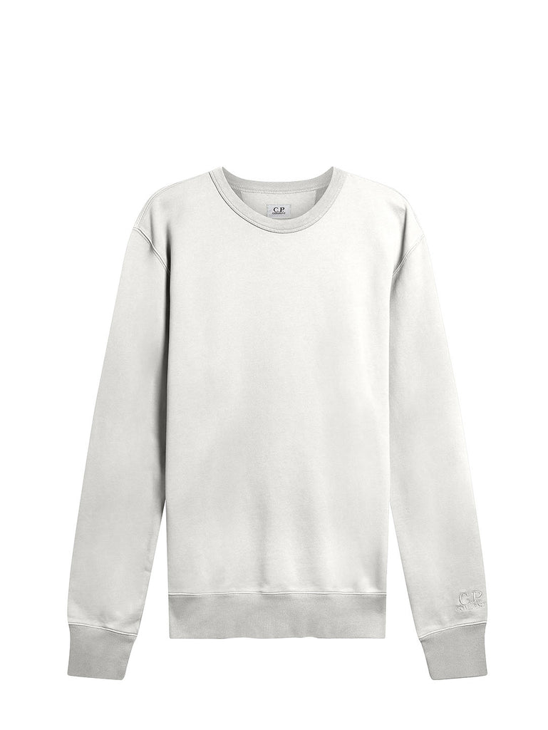 Garment Dyed Brushed Cotton Fleece Sweatshirt in Gauze White
