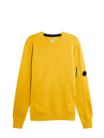 Diagonal Raised Fleece Lens Crew Sweat in Golden Yellow