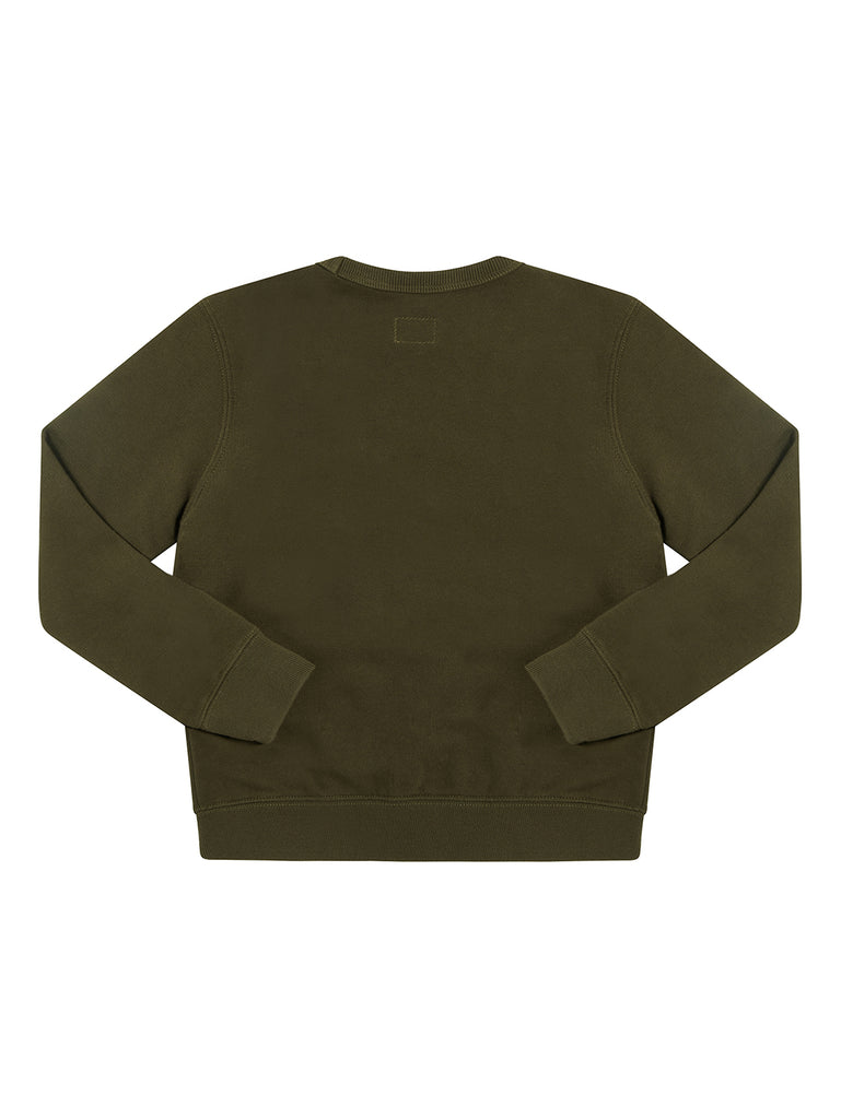 Undersixteen Basic Fleece Logo Print Lens Sweatshirt in Forest Night