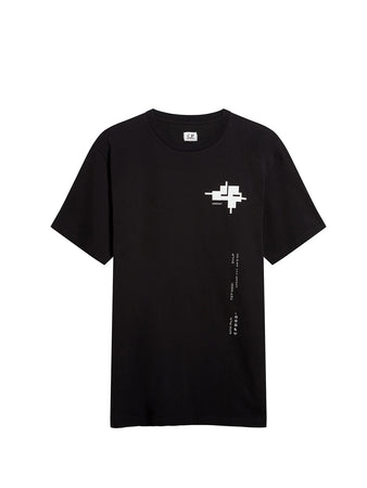 Jersey 24/1 Technical Reverse Print T-Shirt in Black