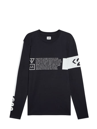 Jersey 30/1 Long Sleeve Instruction T-Shirt in Total Eclipse