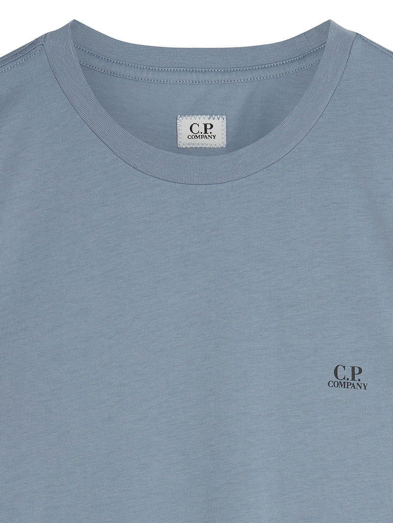 Jersey 30/1 Mini Chest Logo T-Shirt in Blue Fog
