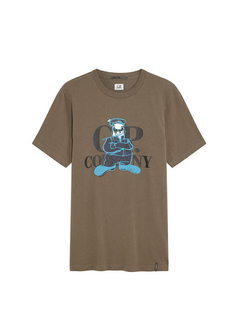 Jersey 20/1 Comics and Cars Logo T-Shirt in Dusty Olive