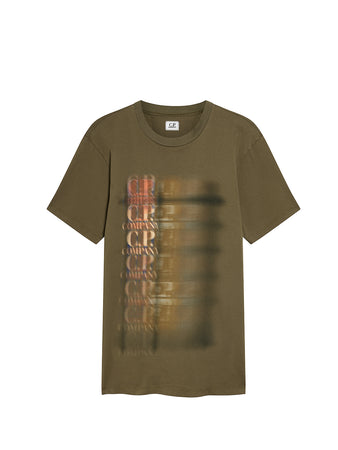 Jersey 20/1 Fade Blur Logo T-Shirt in Olive Night