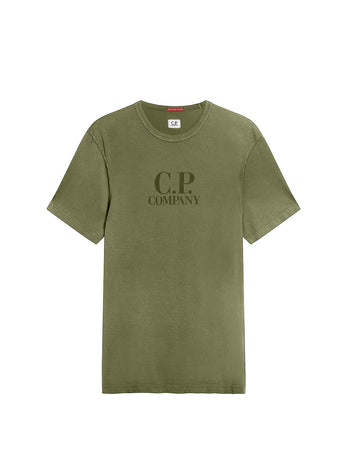 Old Chic Mako Jersey Chest Logo T-Shirt in Martini Olive