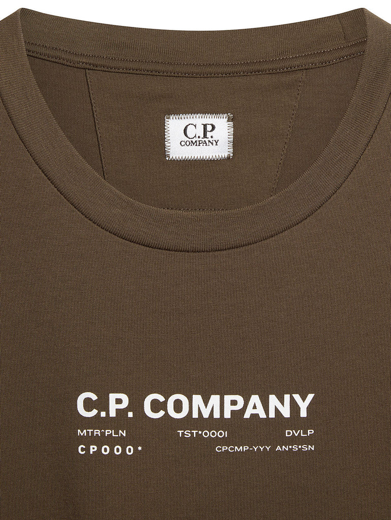 Jersey 24/1 Technical Reverse Graphic T-Shirt in Ivy Green