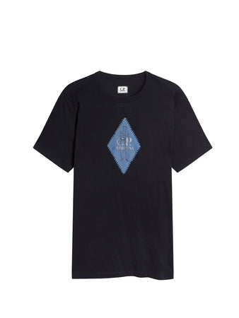 Jersey 30/1 Diamond Logo Print T-Shirt in Total Eclipse