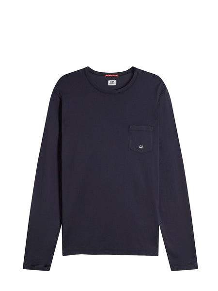Pocket Crew Neck Long Sleeve T-Shirt in Total Eclipse
