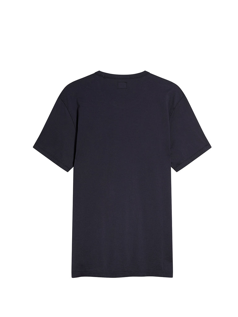 Logo Print Mako Cotton Crew Neck T-Shirt in Total Eclipse