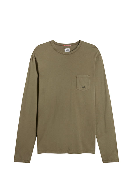Pocket Crew Neck Long Sleeve T-Shirt in Dusty Olive