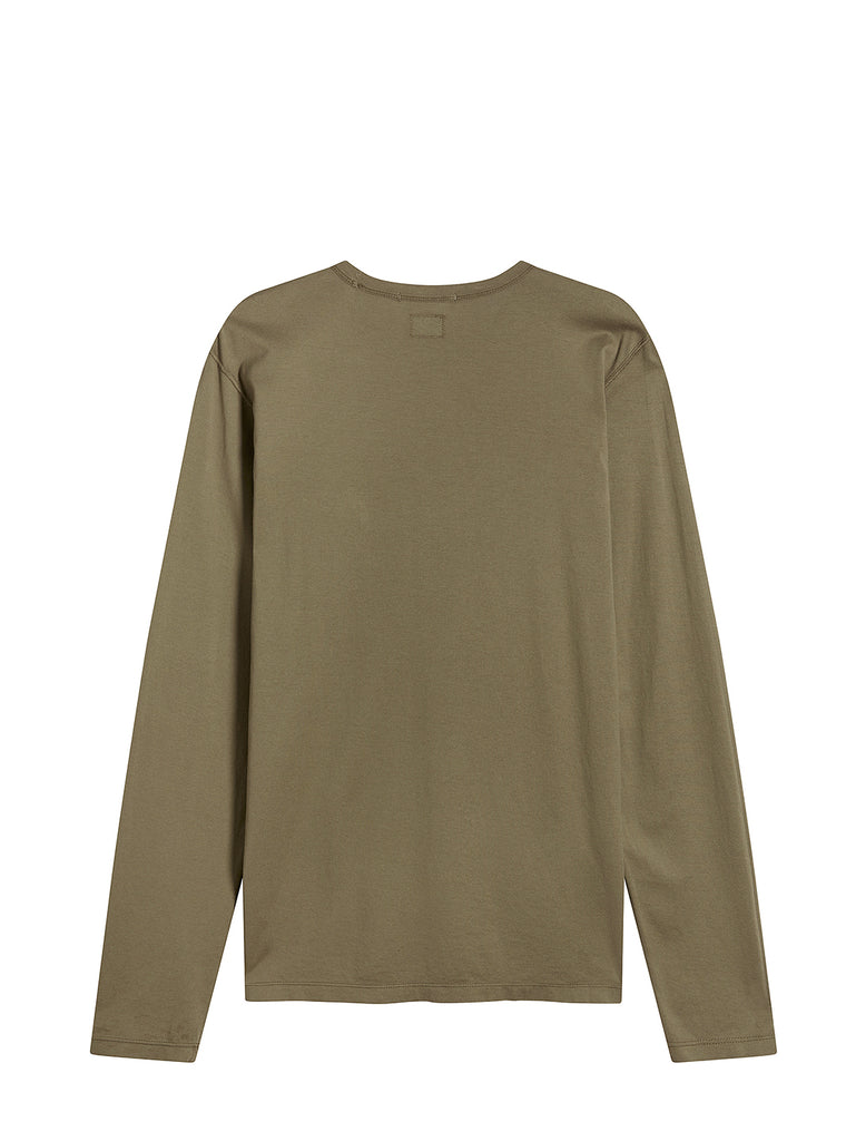 Long Sleeve Mako Cotton Pocket T-Shirt in Dusty Olive