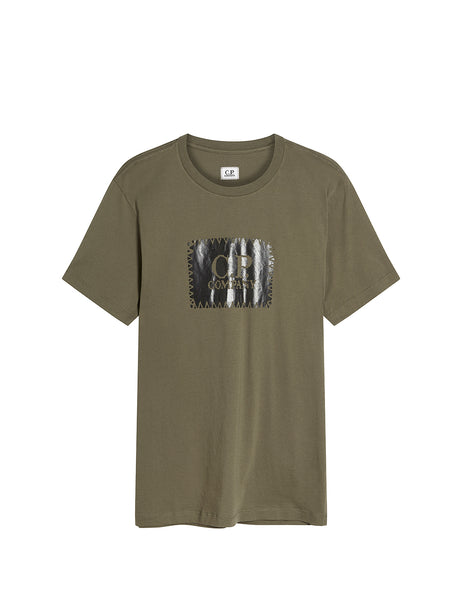 Jersey 30/1 Label Print T-Shirt in Dusty Olive
