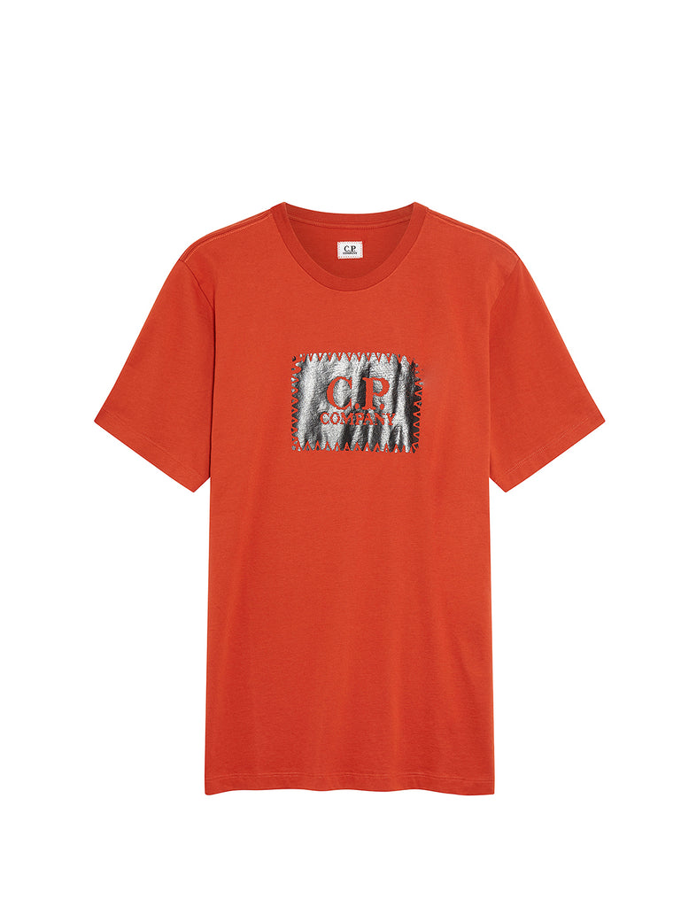Jersey 30/1 Label Print T-Shirt in Pureed Pumpkin