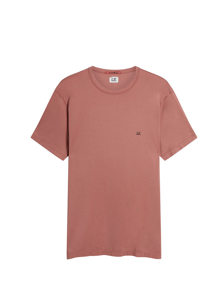Logo Print Mako Cotton Crew Neck T-Shirt in Roan Rouge