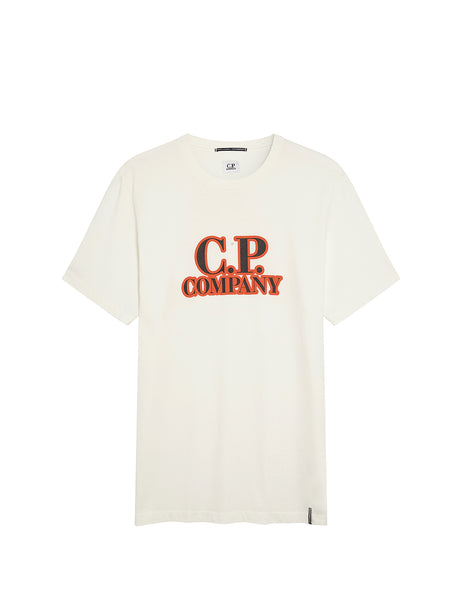 Jersey 20/1 Comics and Cars Logo T-Shirt in Gauze White