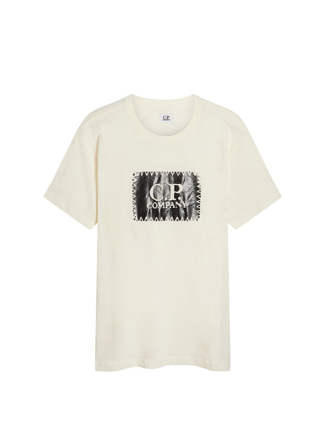 Jersey 30/1 Label Print T-Shirt in Gauze White